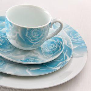سرویس چینی زرین ۱۲ نفره کامل رزتا آبی (۱۰۲ پارچه)