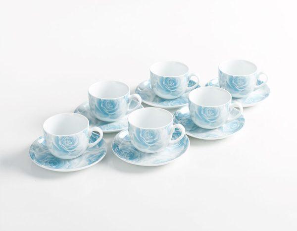 سرویس چینی زرین 12 نفره کامل رزتا آبی (102 پارچه)
