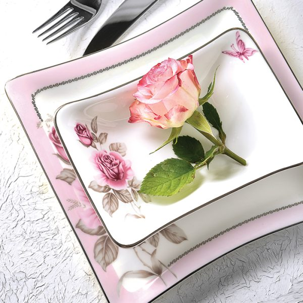 سرویس چینی زرین 6 نفره غذاخوری رزفلاور پلاتینی (29 پارچه)