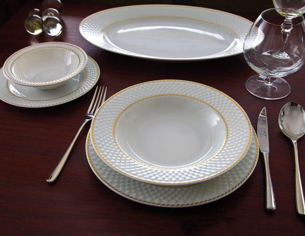 سرویس چینی زرین 6 نفره غذاخوری میلانو سفید (28 پارچه)