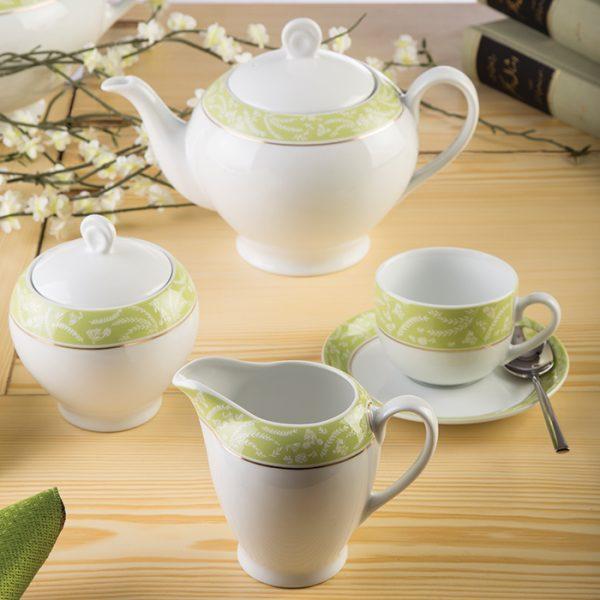 سرویس چینی زرین 12 نفره کامل آتن سبز (102 پارچه)