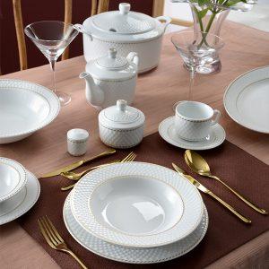سرویس چینی زرین ۱۲ نفره کامل میلانو سفید (۱۰۲ پارچه)