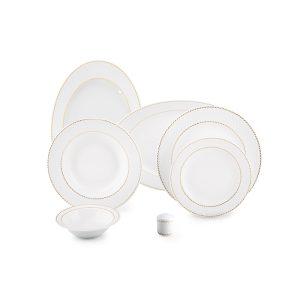 سرویس چینی زرین ۶ نفره غذاخوری میلانو سفید (۲۸ پارچه)