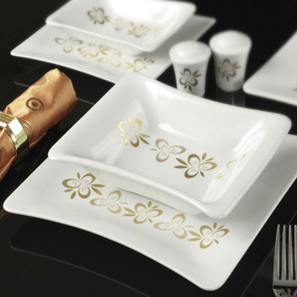 سرویس چینی زرین 12 نفره کامل پریماورا طلایی (90 پارچه)