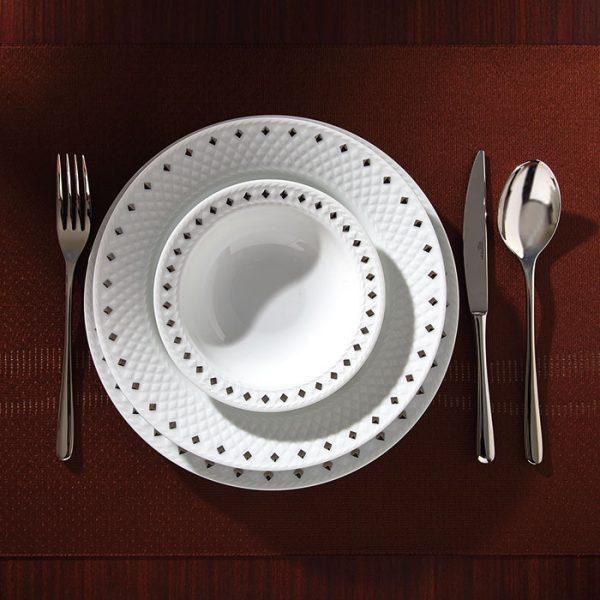 سرویس چینی زرین 6 نفره غذاخوری سیلور دایموند (28 پارچه)