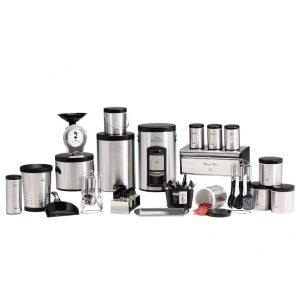 سرویس آشپزخانه بهازکالا ۴۰ پارچه استیل پیمانه دار (درب مشکی فلزی)