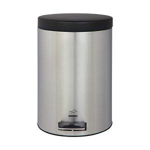 سطل زباله بهازکالا پدالدار ۱۴ لیتری استیل (درب مشکی)