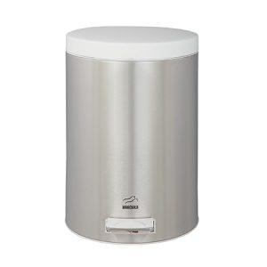 سطل زباله بهازکالا پدالدار ۱۴ لیتری استیل (درب سفید)