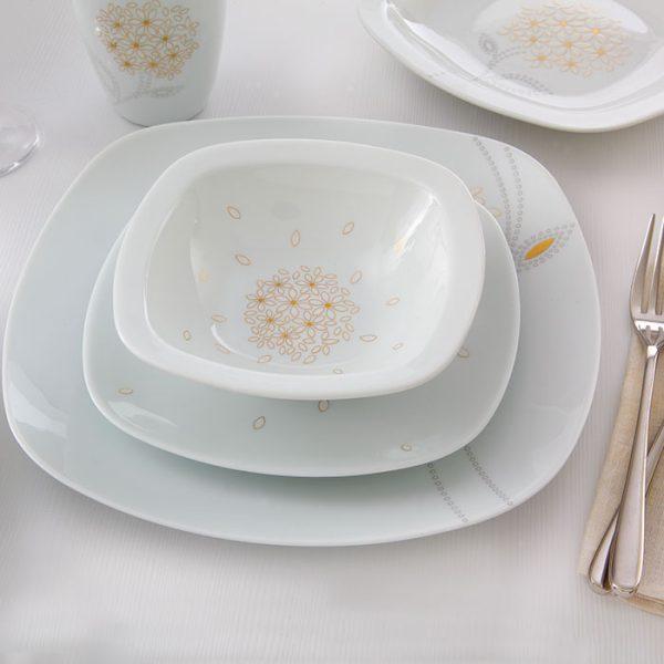 سرویس چینی زرین 12 نفره کامل گلدن لوتوس (98 پارچه)