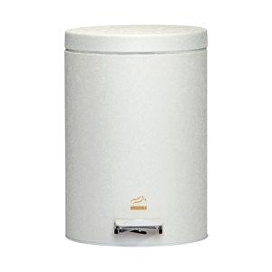 سطل زباله بهازکالا پدالدار ۱۴ لیتری سفید چروک (درب فلزی)