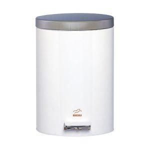 سطل زباله بهازکالا پدالدار ۱۴ لیتری سفید (درب استیل)