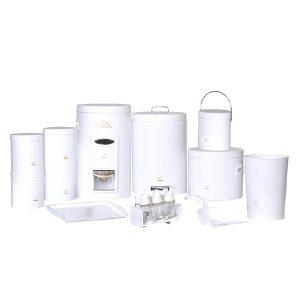 سرویس آشپزخانه ۱۸ پارچه بهازکالا سفید پیمانه دار (درب فلزی)