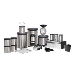 سرویس آشپزخانه بهازکالا 23 پارچه استیل پیمانه دار (درب مشکی فلزی)