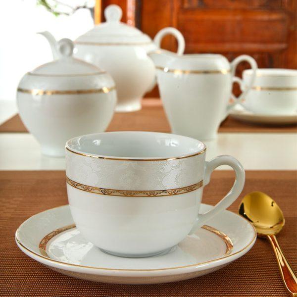 سرویس چینی زرین 6 نفره چای خوری هدیه طلایی (17 پارچه)