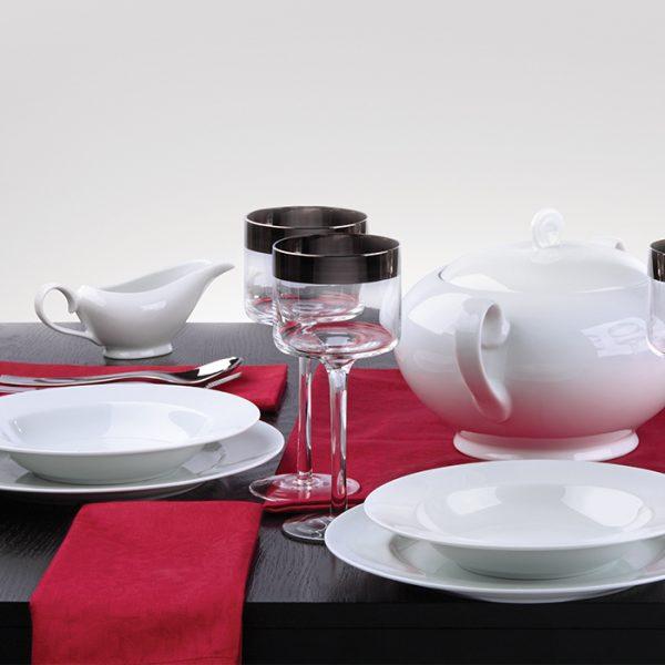سرویس چینی زرین 12 نفره کامل سفید (102 پارچه)