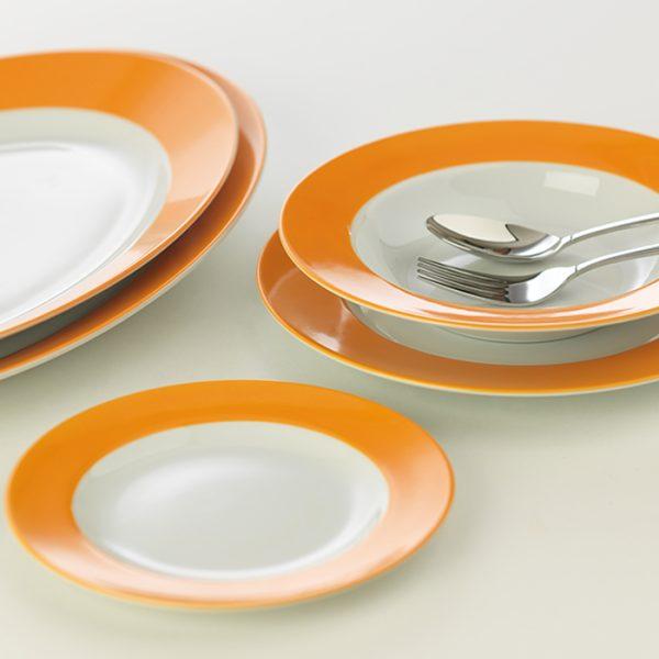 سرویس چینی زرین 6 نفره غذاخوری نارنج (28 پارچه)