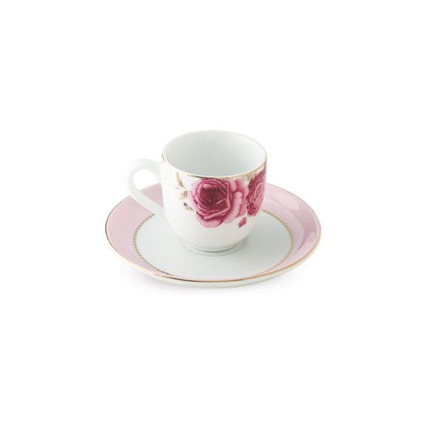 سرویس چینی زرین 6 نفره قهوه خوری رزفلاور (12 پارچه)