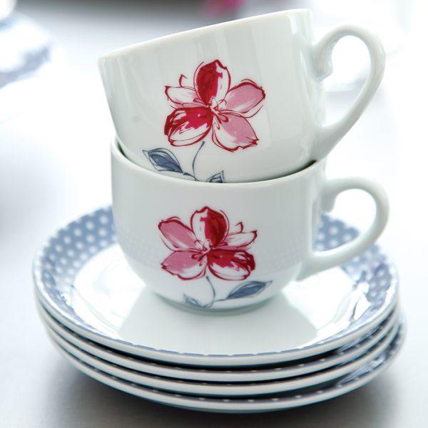 سرویس چینی زرین 6 نفره چای خوری والنسیا ارغوانی (12 پارچه)