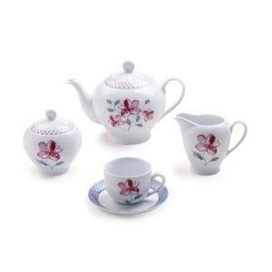 سرویس چینی زرین ۶ نفره چای خوری والنسیا ارغوانی (۱۷ پارچه)