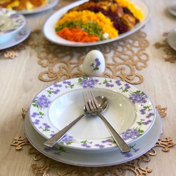 سرویس چینی زرین 6 نفره غذاخوری یاس بنفش (28 پارچه)