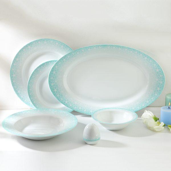 سرویس چینی زرین 6 نفره غذاخوری ساکورا آبی (28 پارچه)