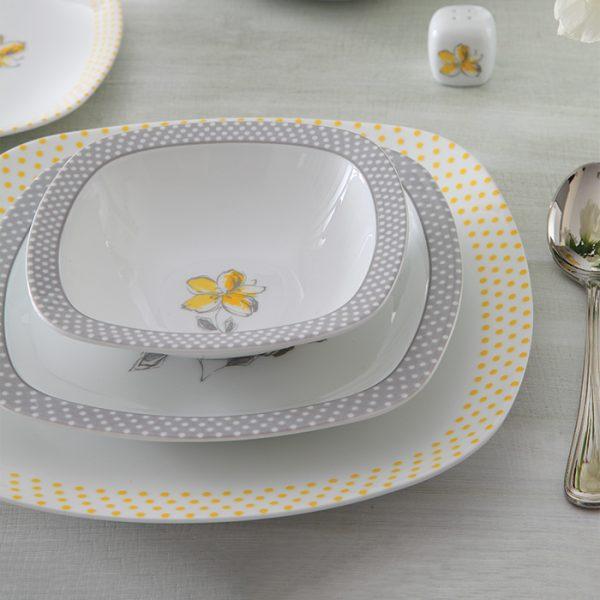 سرویس چینی زرین 6 نفره غذاخوری والنسیا زرد (27 پارچه)