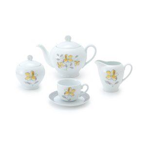 سرویس چینی زرین ۶ نفره چای خوری والنسیا زرد (۱۷ پارچه)