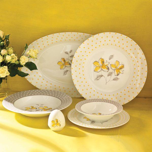 سرویس چینی زرین 6 نفره غذاخوری والنسیا زرد (28 پارچه)