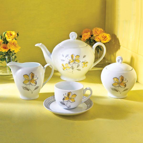 سرویس چینی زرین 6 نفره چای خوری والنسیا زرد (17 پارچه)