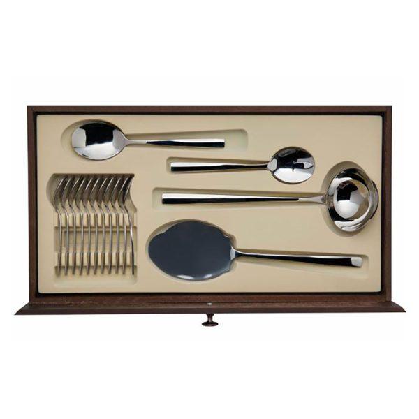 سرویس قاشق و چنگال 12 نفره ناب استیل طرح فلورانس (124 پارچه) بعلاوه کنسول چوبی