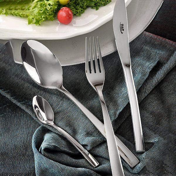 قاشق و چنگال غذاخوری 6 نفره ناب استیل طرح فلورانس استیل براق (12 پارچه)
