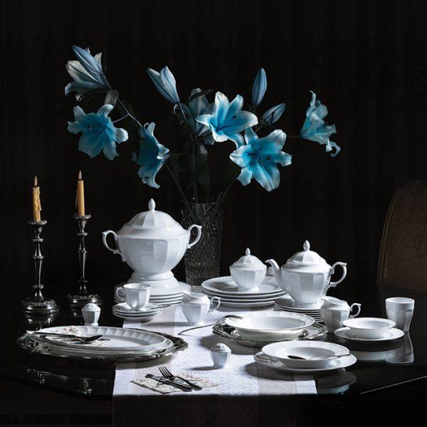 سرویس چینی زرین 12 نفره کامل سفید نئوکلاسیک (103 پارچه)