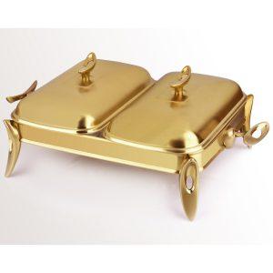 سوفله مستطیل دو خانه تک استیل مدل لوپ (استیل طلایی مات)