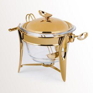 سوفله سوپ خوری بزرگ تک استیل مدل لوپ (استیل طلایی براق)