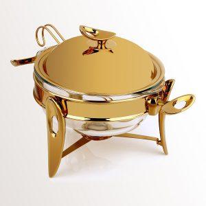 سوفله سوپ خوری متوسط تک استیل مدل لوپ (استیل طلایی براق)