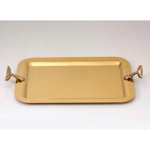 سینی مستطیل بزرگ تک استیل مدل لوپ (استیل طلایی براق)