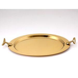 سینی بیضی تک استیل مدل لوپ (استیل طلایی براق)
