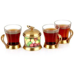 سرویس چایخوری تک استیل مدل لوپ (استیل طلایی مات)