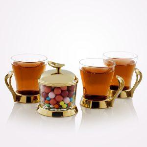 سرویس چایخوری تک استیل مدل لوپ (استیل طلایی براق)