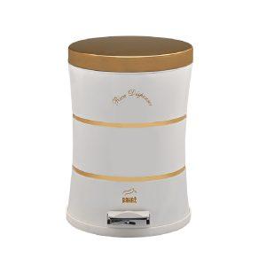 سطل زباله بهازکالا پدالدار 14 لیتری سایلنت دوخط سفید (درب استیل طلایی)