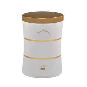 سطل برنج بدون پیمانه 10 کیلویی بهازکالا دوخط سفید (درب استیل طلایی)