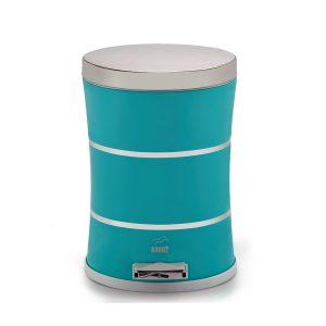 سطل زباله بهازکالا پدالدار ۱۴ لیتری سایلنت دوخط آبی تیفانی (درب استیل)