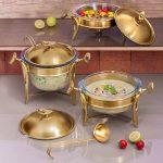 سوفله سوپ خوری کوچک تک استیل مدل لوپ (استیل طلایی مات)