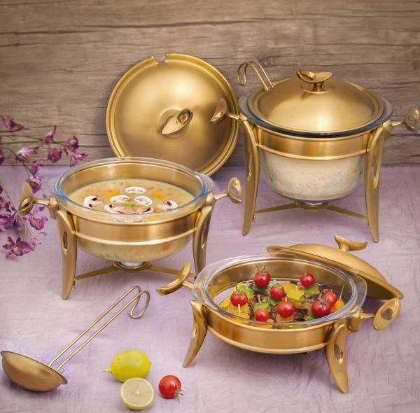 سوفله سوپ خوری بزرگ تک استیل مدل لوپ (استیل طلایی مات)