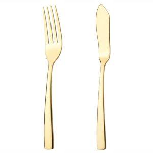 کارد و چنگال سرو ماهی ناب استیل طرح فلورانس طلایی (۲ پارچه)