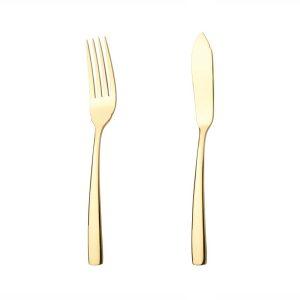 کارد و چنگال ماهی ۶ نفره ناب استیل طرح فلورانس طلایی (۱۲ پارچه)
