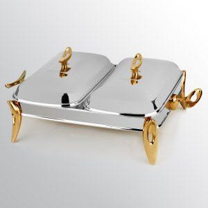سوفله مستطیل دو خانه تک استیل مدل لوپ (استیل دسته طلایی)