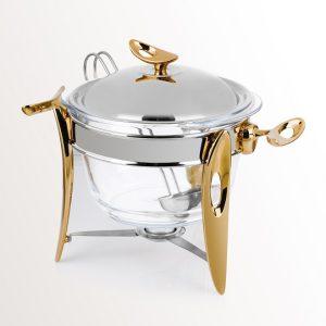 سوفله سوپ خوری بزرگ تک استیل مدل لوپ (استیل دسته طلایی)