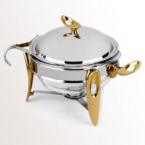 سوفله سوپ خوری متوسط تک استیل مدل لوپ (استیل دسته طلایی)