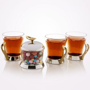 سرویس چایخوری تک استیل مدل لوپ (استیل دسته طلایی)